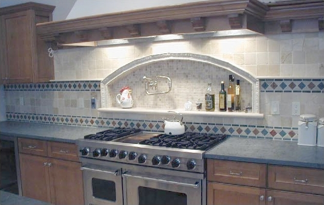 Kitchen Remodel Designs Tumbled Marble Backsplash