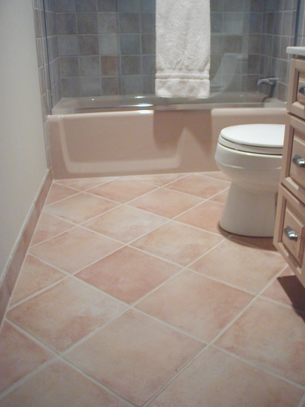 This 13 X Tile Laid Diagonally Complements The Previous Bathroom S Floor